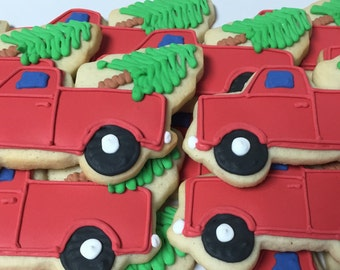 Christmas Cookies, Country Christmas, Tree and Truck, Rustic Christmas Favors