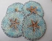 Starfish Coffee/Drink Coasters Ceramic Blue & Brown Beach Coastal Decor (Set of 4)