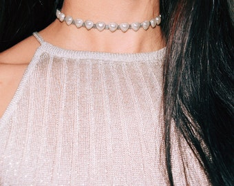 Ariana Grande Choker Pearl Heart Choker Necklace Let Me Love You Choker