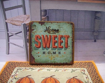 Home Sweet Home Miniature Wooden Plaque 1:12 scale for Dollhouses