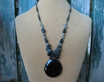 Long Black Stone Necklace