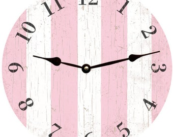 Pink Clock-Pink Striped Clock