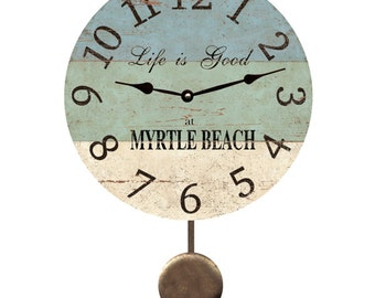 Personalized Beach Pendulum Clock- Beach Wall Clock