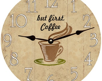 Coffee Clock/But First, Coffee Clock/Rustic Coffee Clock