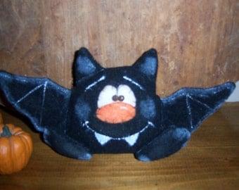 Primitive HC Halloween Whimsical Black Bat Shelf Sitter Ornie Tuck