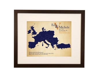 Best Anniversary Gift Idea, Cotton Anniversary Gift for him, Keepsake map, long distance love map, honeymoon gift, wedding gift for couple