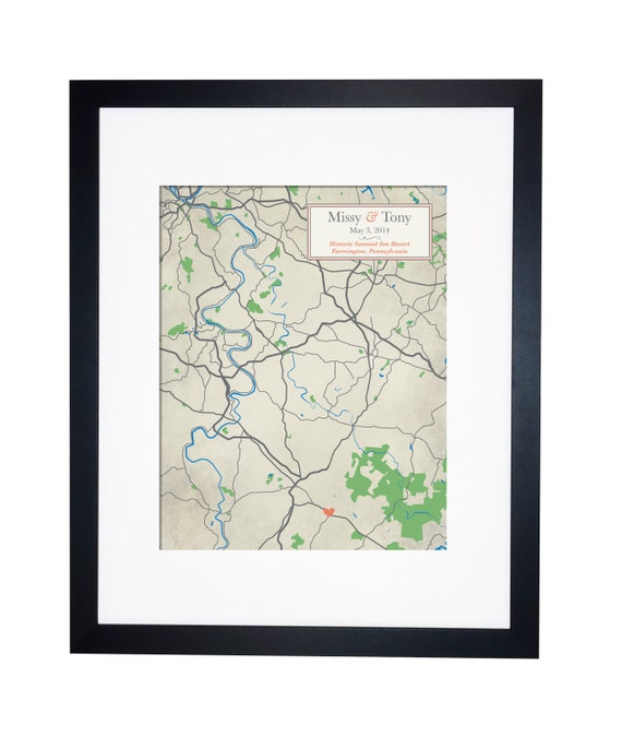 ... wedding map - Anniversary gift idea - Guestbook Alternative