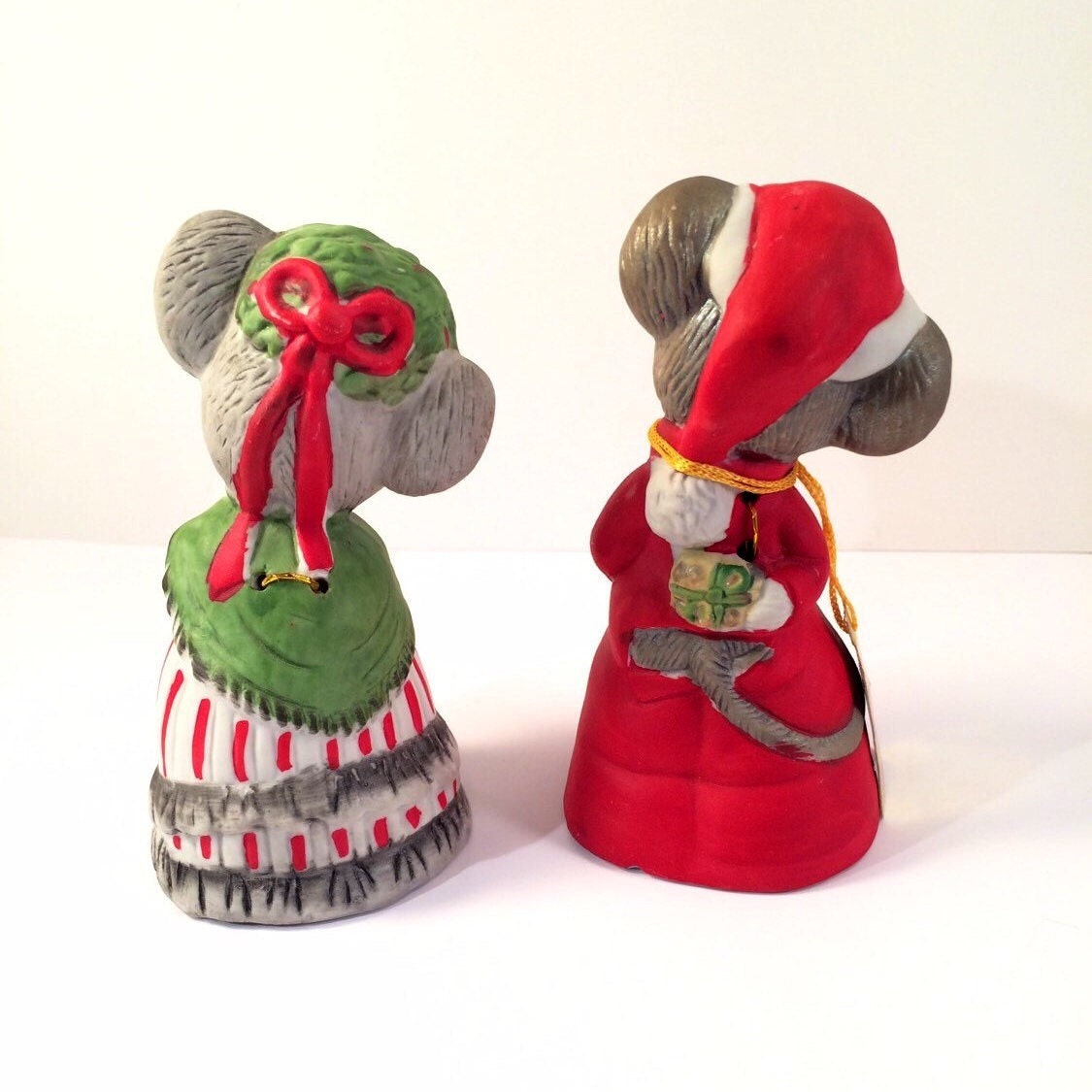 Vintage Christmas Decorations Mouse Carolers Set Jasco: Christmas Critter Bells Mr. And Mrs. Mouse Set By VintageVybe