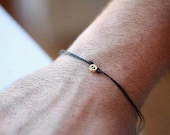 GOLD - Tiny Skull cord bracelet, men's bracelet with a GOLD plated Tiny Skull , bracelet for me
