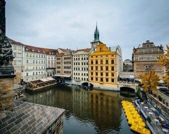 Autumn color and buildings along the Vltava in Prague, Czech Republic. | Photo Print, Stretched Canvas, or Metal Print.