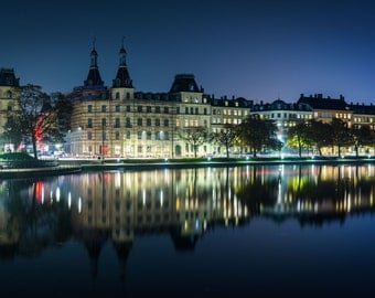 Buildings along Peblinge Sø at night, in Copenhagen, Denmark. | Photo Print, Stretched Canvas, or Metal Print.