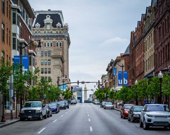 Charles Street in Midtown-Belvedere, Baltimore, Maryland.   Photo Print, Stretched Canvas, or Metal Print.