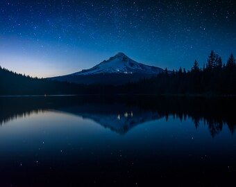 Stars & Mount Hood reflecting in Trillium Lake at night, Mount Hood Nat'l Forest, Oregon. | Photo Print, Stretched Canvas, or Metal Print.