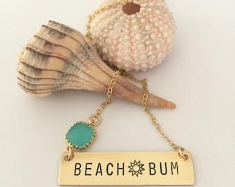 Beach Bum Stamped Brass Bar Necklace Thats Life Friend Gift Ocean Coastal Nautical Beach Bridesmaids