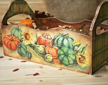 Wooden storage box, Pumpkin gifts,  Wooden Crate, Hostess Gifts, Storage basket, bread box, Kitchen accessories, Fruit vegetables trug