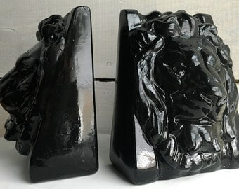 High Gloss Lion Bookends - Black - Regal Style