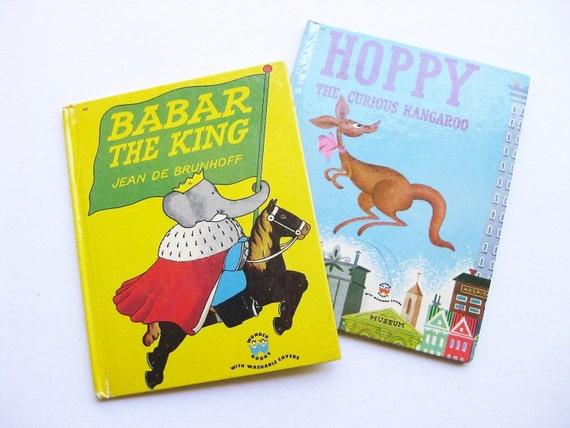 "Wonder Books ""Babar the King"" and ""Hoppy the Curious Kangaroo."" Jean De Brunhoff and Stan Fraydas. Kids classics."