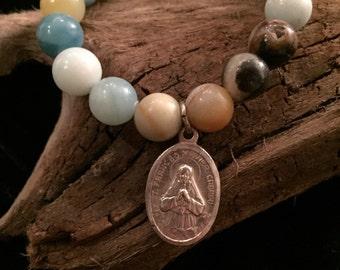 Mixed Amazonite Beaded Bracelet with Vintage Religious Medal