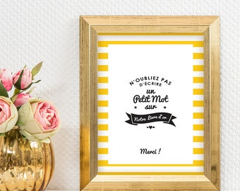 Yellow stripes Wedding Guest book sign