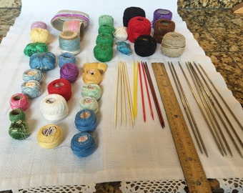 KNITTING NEEDLES and Thread lot
