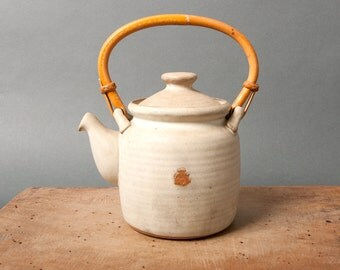 vintage white teapot, white teapot with bamboo handle, handmade teapot, rustic unique pot, tabletop pot, stoneware mid century, gift for her