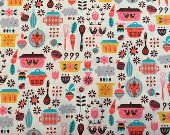 Vintage Kitchen by Andrea Muller for Riley Blake kitchen tool print on cream background by the yard 100% cotton