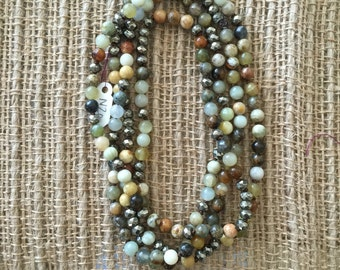 New Jade and Pyrite Necklace
