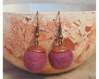 Felt earrings, felted beads 100% wool