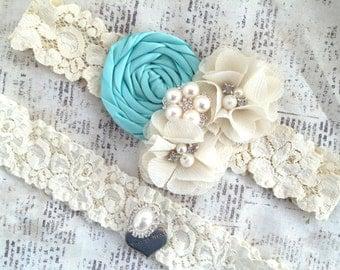 Blue Wedding Garter, Turquoise Garter Set, Bridal Garter Blue, Aqua Wedding Garter, Aqua Garter Set, Blue Garters, Something Blue Garter Set