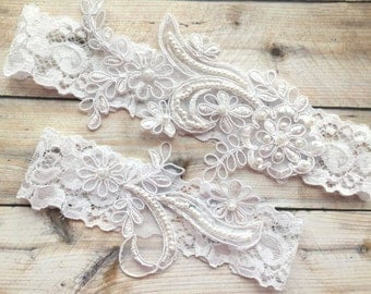 Wedding Garter Lace, Wedding Garter Set, White Wedding Garter, White Lace Garter, Wedding Garter White, White Garter Set, Lace Garter Set