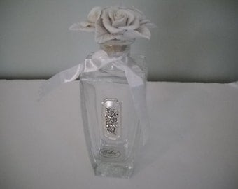 Glass  Perfume Bottle with Roses on Topper