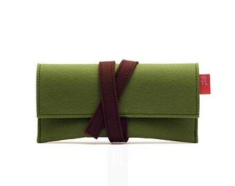 Green small clutch bag in soft Italian felt with contrasting brown closing lace Japanese Obi belt inspired.