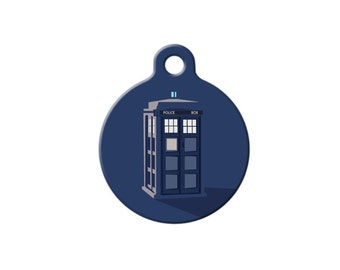 Tardis Dr Who fan Pet ID Name Tag Personalised Custom Dog Cat Name Tag