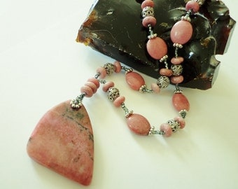Rhodonite Pendant Necklace, Gemstone Beaded Necklace, Pink Rhodonite Bead Necklace
