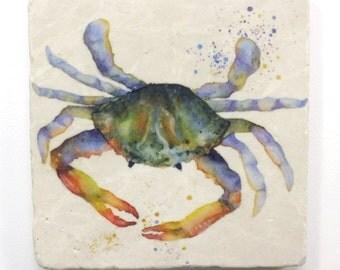 Crab Tumbled Stone Trivet Original Watercolor