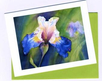 Iris Art Card / Print Art Original Watercolor