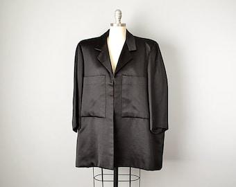 80s Jacket // 1980's Balenciaga Geometric Black Silk Jacket // M-L