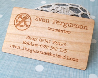 Wooden veneer business cards, business cards, laser engraved business cards, company logo business cards, set of 50 pc
