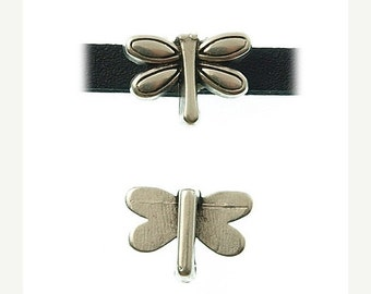 On Sale NOW 25%OFF Tiny Dragonfly Sliders For 5mm - 6mm Flat Leather Antique Silver Z2478 Qty 4