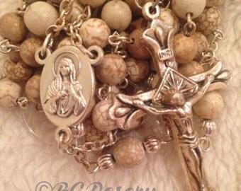 Catholic White Magnesite Rosary