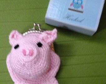 Crochet pig coin purse