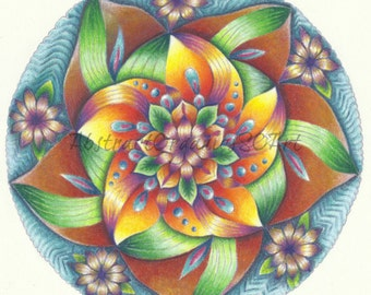 Seasonal mandala fine art print of high quality pencil drawing on pastelmat floral mandala in greens, yellows and burnt orange