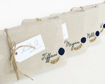 Set of Personalized Cosmetic Bags, Monogrammed Bridal Party Gifts, Choose Quantity and Flower Color