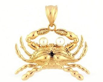 14k Yellow Gold Chesapeake Bay Crab Charm/Pendant with Pearls