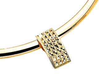 14k yellow gold square diamond cut slide.
