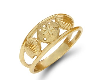 14k solid gold shell with sand dollar ring, seashore ring, nautical ring, shell jewelry