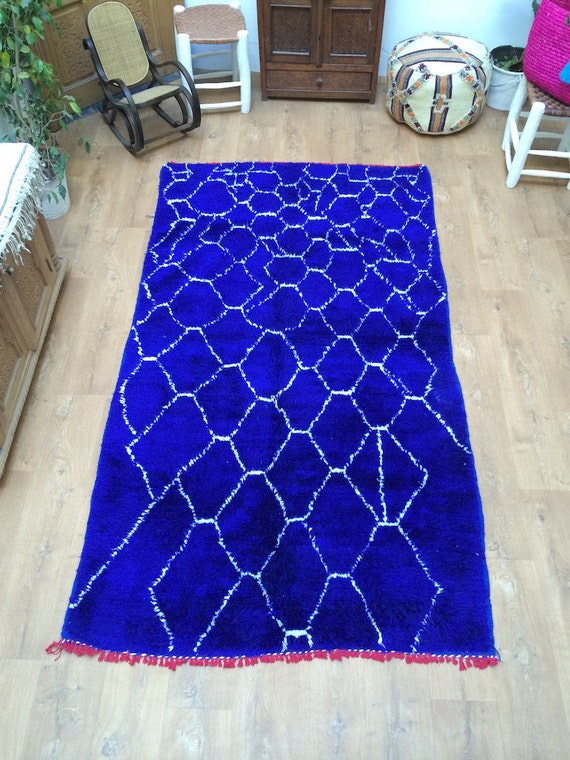 Berber Carpet Handmade Blue Beni ourain Moroccan rug 4x8 Tribal carpets and rugs, Berber style carpet, Beni ourain Azilal Tribal Teppich,