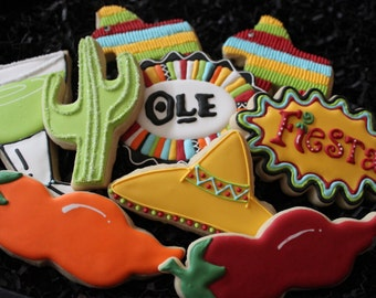 Fiesta cookies, cinco de mayo cookie favors, viva la fiesta, custom cookies, cactus,  mexican cookies, sombrero, chili, margarita,