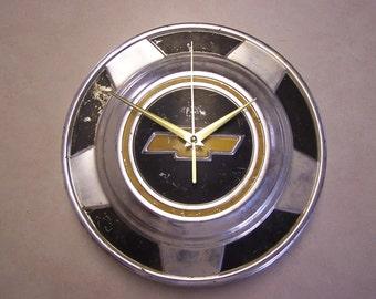 Chevy Hubcap Clock - Vintage Hub Cap Clock - Man Cave - Shop Clock - Garage Gift - Hub Cap Clock - Dog Dish Clock - Chevy Truck