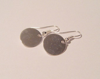 Shiny silver disc earrings